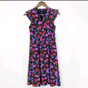 J. Crew Black Silk Floral Midi Dress 135